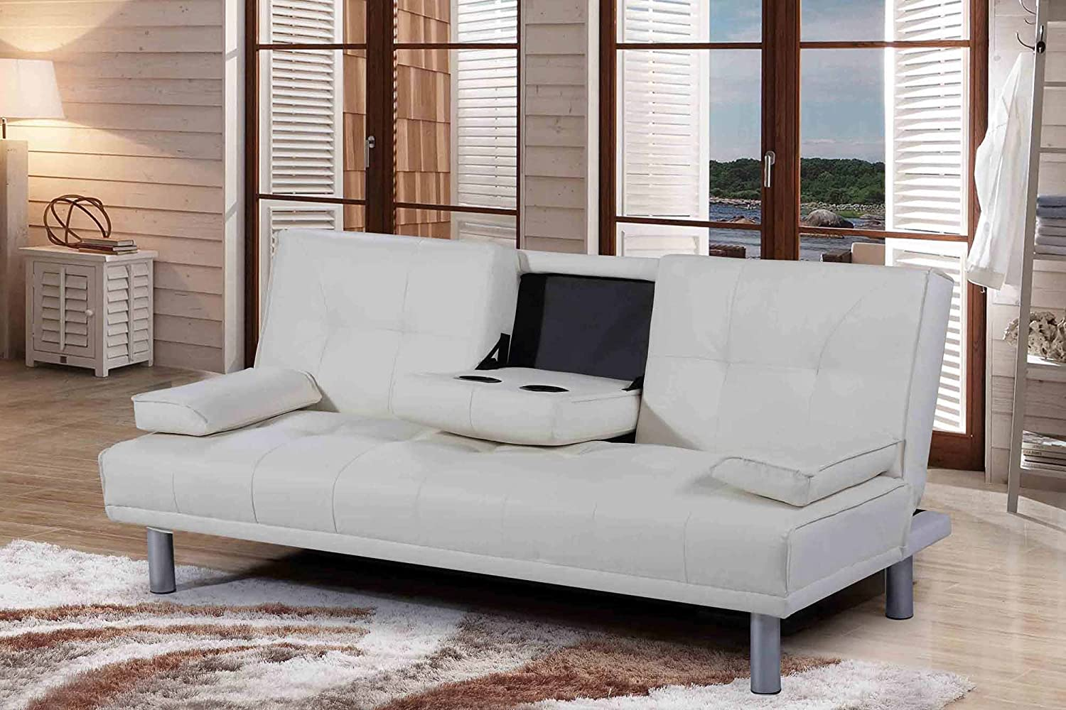 Modern leather sofa bed - New Sleep Design Manhattan Modern Faux Leather Sofa Bed With Drinks Table Cushions Available In White Amazon Co Uk Kitchen Home