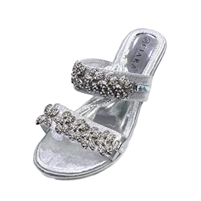 ff54119c275b Women Ladies Evening Wedding Party Prom Bridal Slip-On Wedge Heel Diamante  Sandal Shoes (SAN Bella 1): Amazon.co.uk: Shoes & Bags
