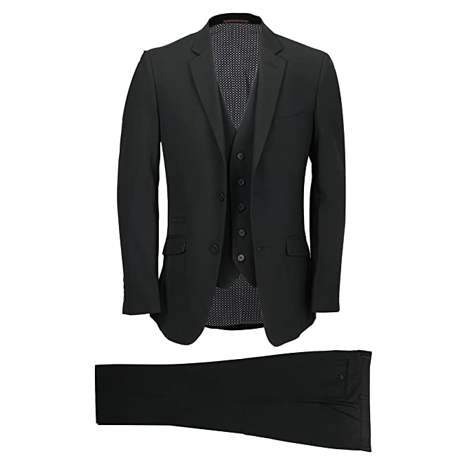 Amazon.com: Cavani Mens Classic Black 3 Piece Suit Smart ...