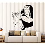Wall Stickers Vinyl Decal Sexy Decor Girl Teen With Unicorn Sexiest Decor Ever (z2212i) (M 22.5 in X 30 in, Black)