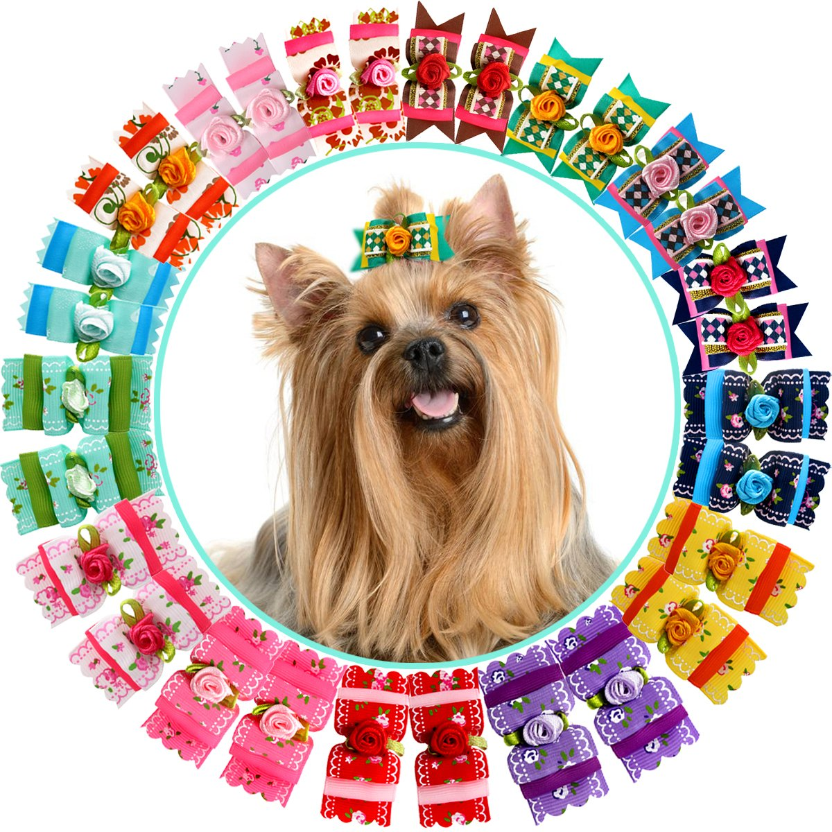 YOY 30PCS/15 Pairs Adorable Grosgrain Ribbon Pet Dog Hair Bows with Rubber Bands - Puppy Topknot Cat Kitty Doggy Grooming Hair Accessories Bow knots Headdress Flowers Set for Groomer