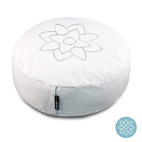 Mindful & Modern Large Meditation Pillow Cushion Zafu Buddhist Yoga Bolster for Best Posture - Buckwheat Hull Filled Round Cushion with Removable ...