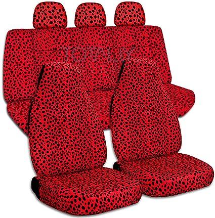 Animal Print Car Seat Covers W 3 Rear Headrest Ladybug