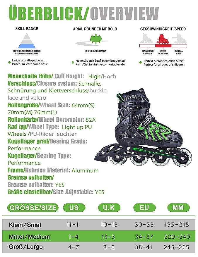 2PM SPORTS Vinal Verstellbar Inliner für Kinder, Leucht Inline Roller Skates Rollschuhe für DamenHerren (Violet, Large(37 40EU))