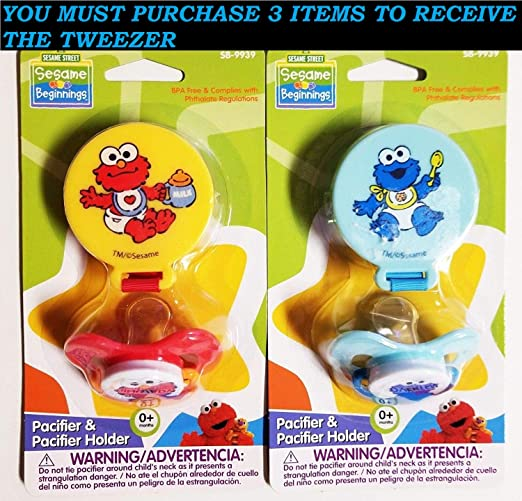 Amazon.com : Pacifier & Holder *2 PACk* ELMO COOKIE MONSTER BPA FREE 0+ M+FREE PROFESSIONAL TWEEZER : Everything Else