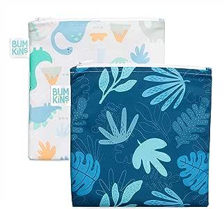 Bumkins Sandwich Bag/Snack Bag Set, Dinosaurs & Blue Tropic, 7 X 7 Inch (Pack of 2)