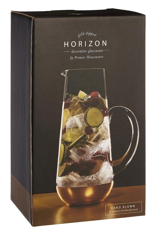 Premier Housewares - Jarra de Horizonte, Cristal Transparente, Oro, 12 x 18 x 26 cm: Amazon.es: Hogar