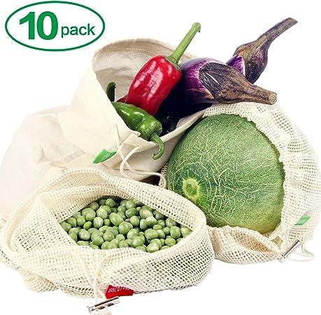 Winload Bolsas de Vegetales Reutilizables, 10 Piezas Olsas de Frutas y Vegetales de Algodón, Bolsas Ecologicas para la Compra Verduras, Bolsas de Comida con Tara Tag, Bolsas de Malla Transpirables: Amazon.es: Hogar