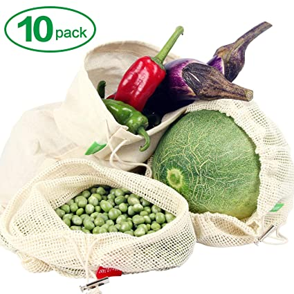 Winload Bolsas de Vegetales Reutilizables, 10 Piezas Olsas de Frutas y Vegetales de Algodón, Bolsas Ecologicas para la Compra Verduras, Bolsas de ...