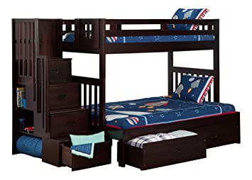 Cascade Staircase Bunkbed With Drawers Twin Over Full Espresso
