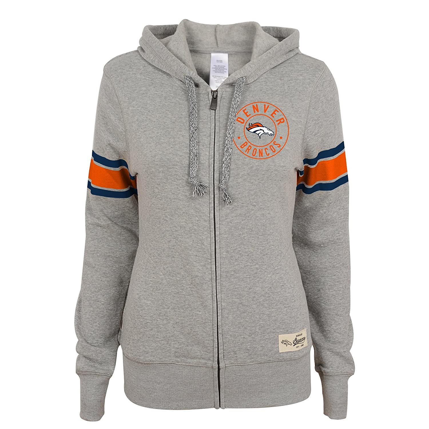 Denver Broncos NFL Junior Girls Boyfriend Full Zip Hood XS 0-1 Heather Grey