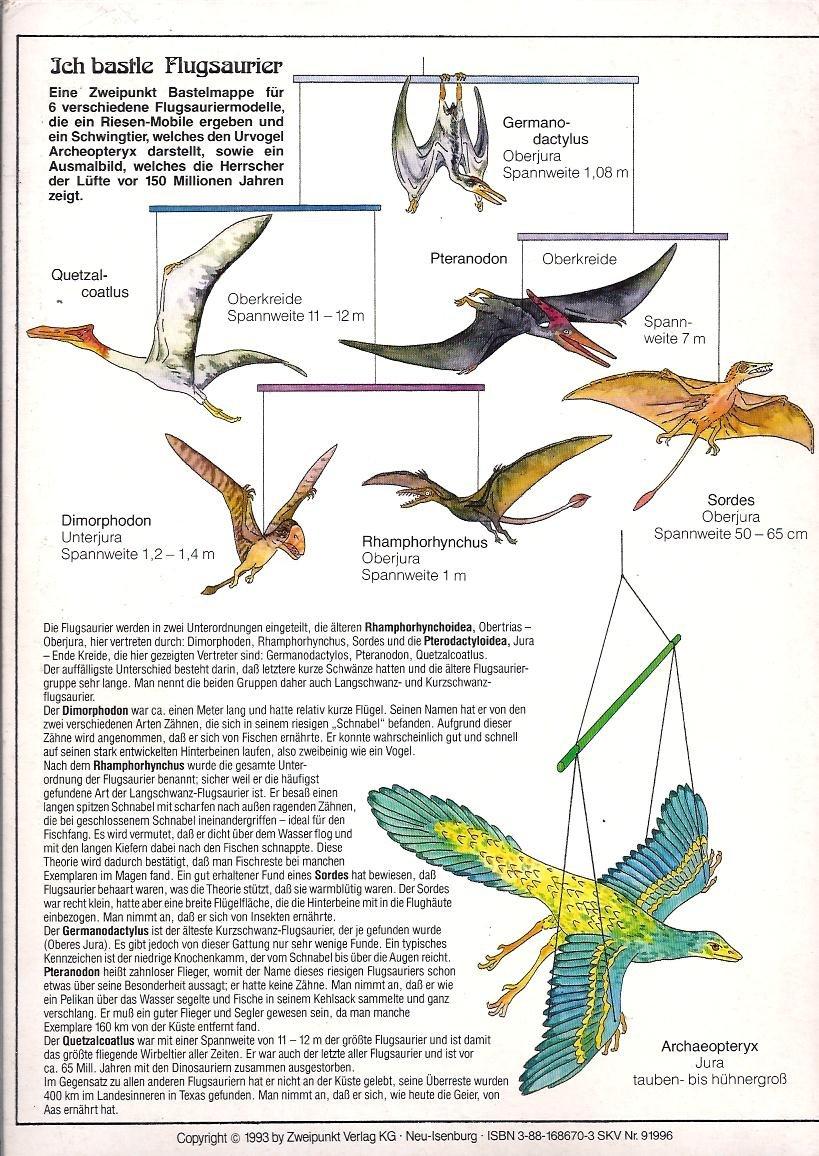 Ich bastle Flugsaurier - 10 Bastelbögen für 7 fliegende Saurier ...