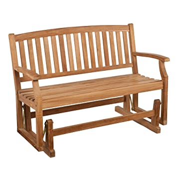 Amazoncom SEI Gideon Teak Patio Glider Bench Tools Products - Teak patio bench