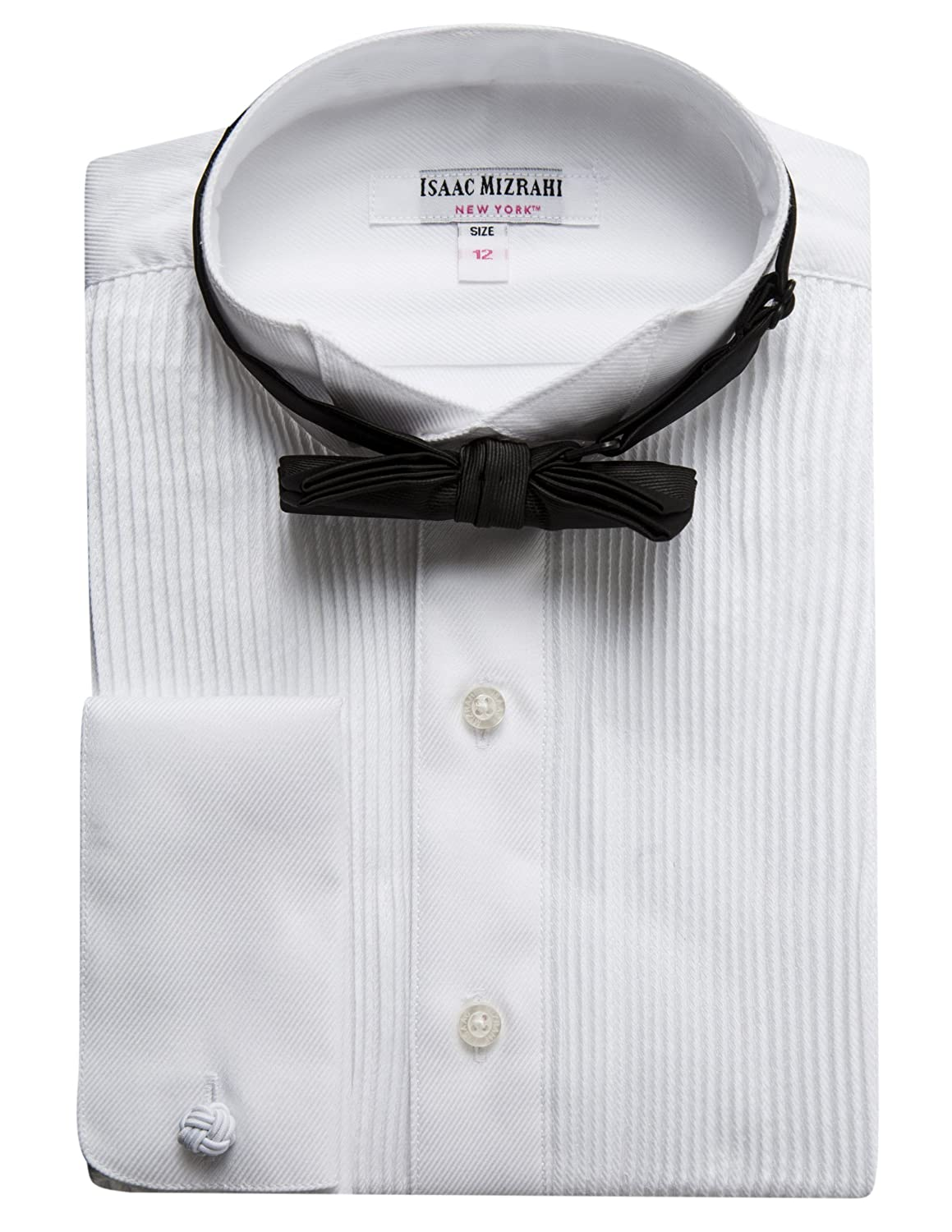 Isaac Mizrahi Boys 100% Cotton French Cuff Twill Wing Tip Collar Tuxedo Shirt (Cufflink Included)