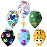 Baby Bandana Drool Bibs - BPA Free Banana Teether Toothbrush Set - Super Soft, Ultra Absorbent - Machine Washable, Color won't Fade - Unisex Pattern - For Baby Boys & Girls 0-36 Months Old
