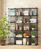 KOUSI Storage Cubes Wire Grid Modular Metal Cubbies Organizer Bookcases and Book Shelves Origami MultiFuncation Shelving Unit, Capacious & Customizable, Black, 20 Cubes