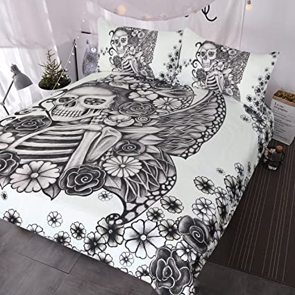 Amazon.com: BlessLiving Gothic Skull Bed Set Retro Butterfly Rose