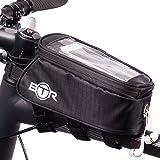 Borsa BTR per bicicletta porta cellulare - borsa per bicicletta resistente all'acqua. Nera. Nuova edizione migliorata 2016 che va su TUTTE le biciclette