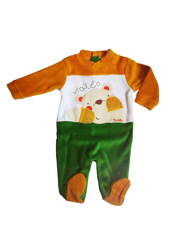 PASTELLO Tutina neonato in ciniglia per bambino con piedini ART. TC35S