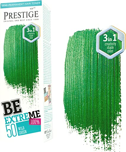 Be Extreme Tóner Semi Permanente para Pelo, Color 50 Verde salvaje - Sin Amoniaco, Sin Parabenos y PPD