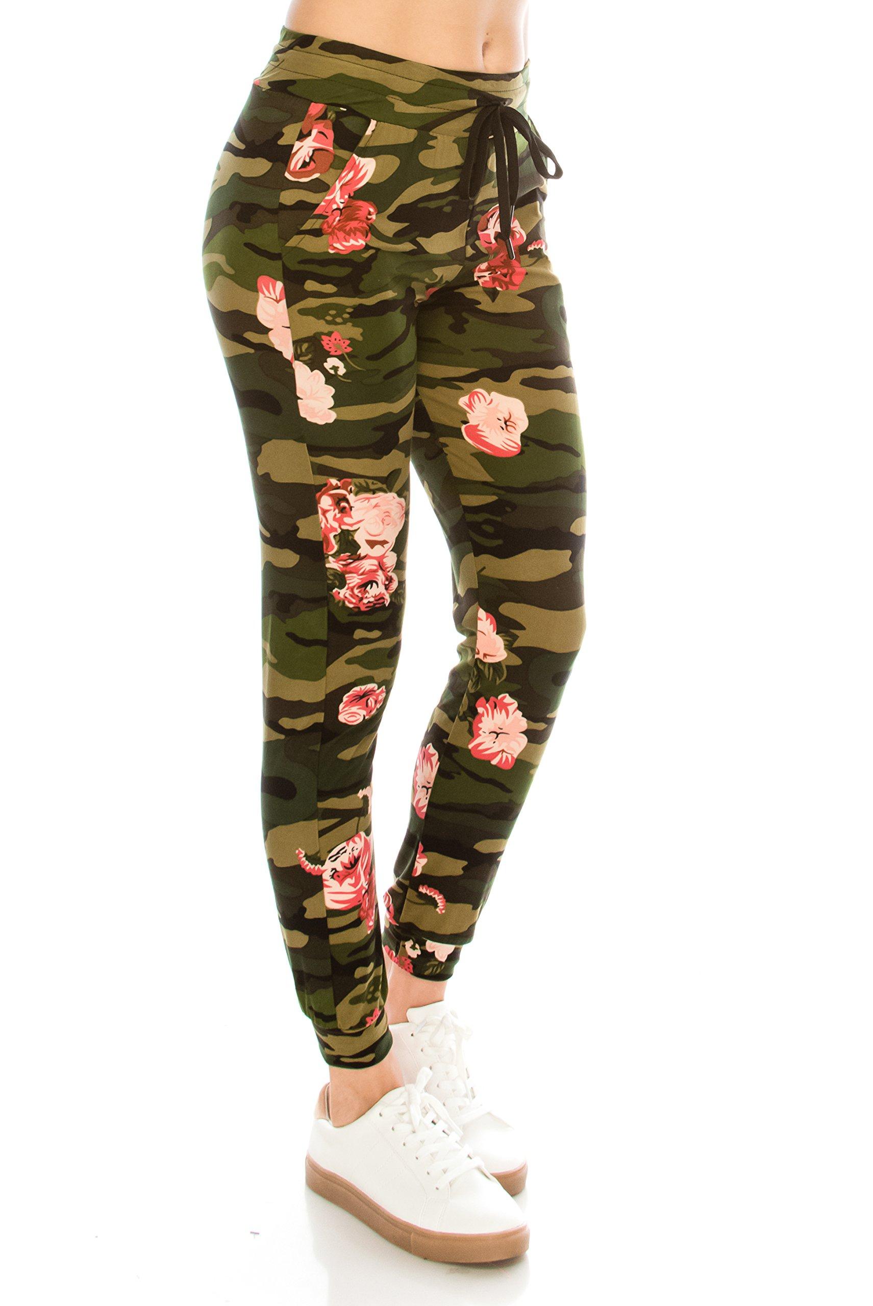 ALWAYS Women Drawstrings Jogger Sweatpants - Skinny Camo Soft Pockets Pants S/M