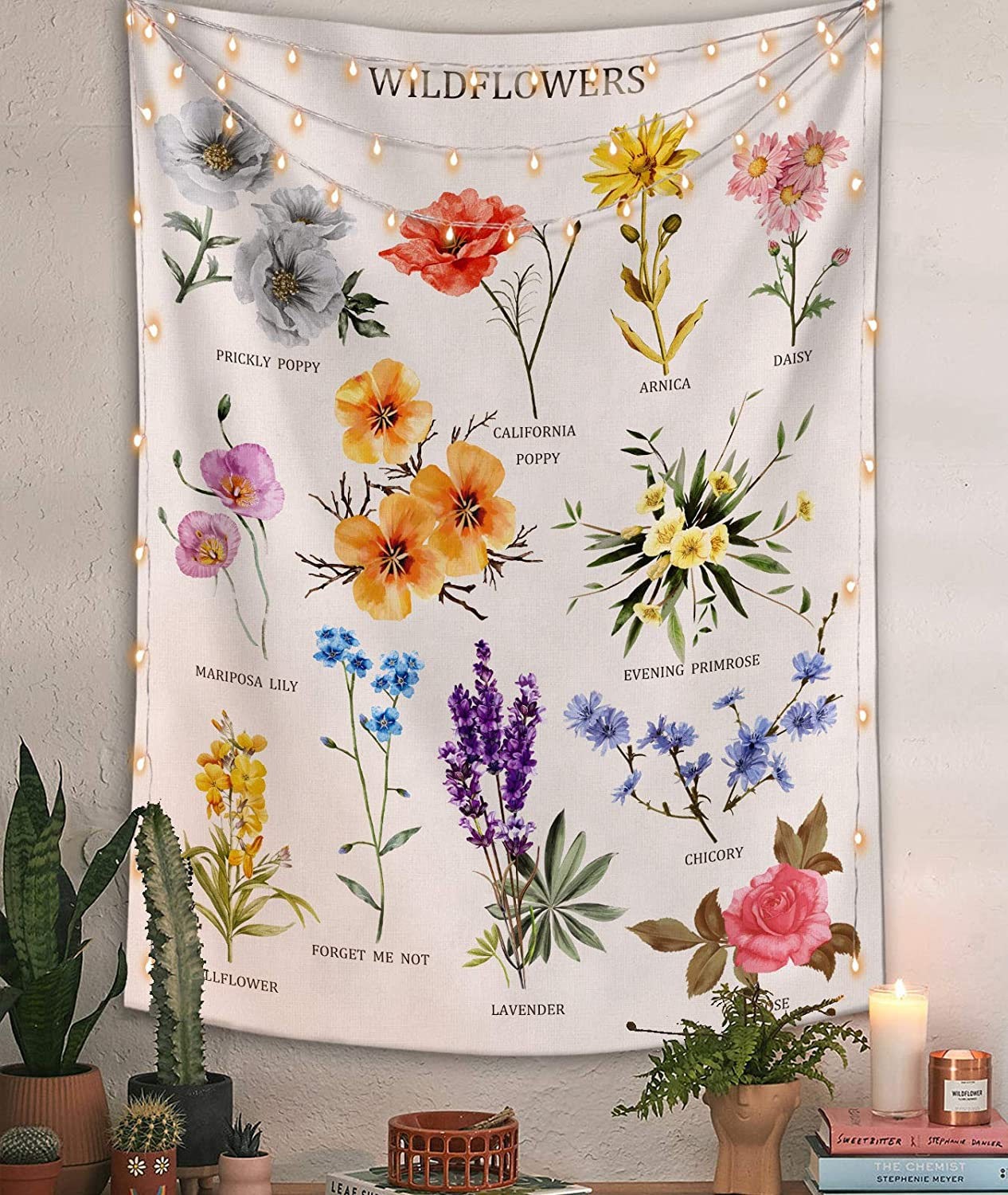 Lifeel Wildflowers Vertical Tapestry Wall Hanging, Illustrative Reference Chart Tapestry With Word, Beige White Vintage Tarot Flag Straight Tapestry 36×48 inches