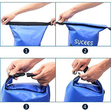 SYCEES Bolsas estancas Impermeable 10L Azul con Bolsillo portátil Adjustable y Cinta Doble Adjustable para movil, Ropa, Llave para la Playa, Viaje, Nadar, ...