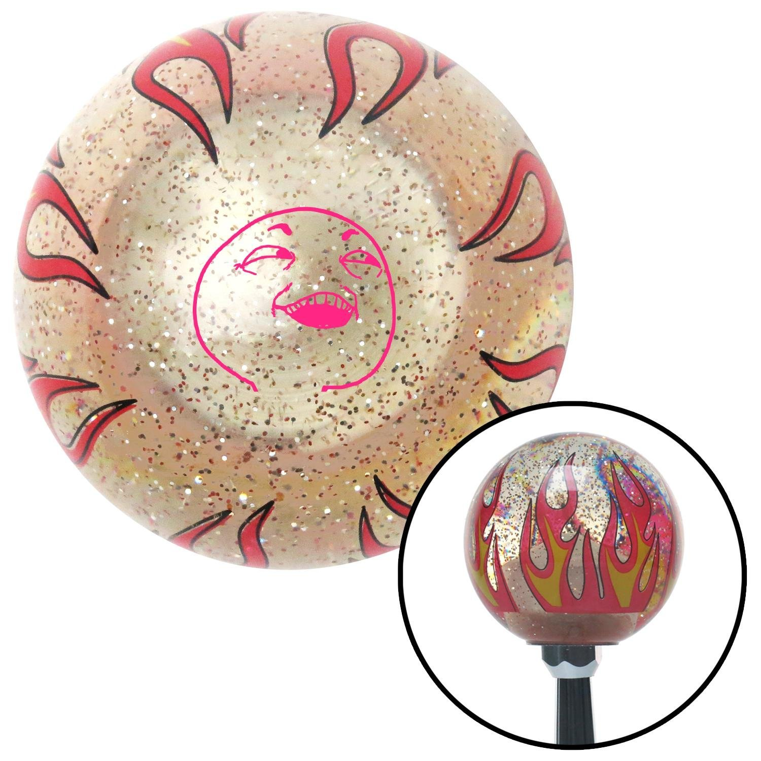Pink What You Did There Clear Flame Metal Flake with M16 x 1.5 Insert American Shifter 295425 Shift Knob
