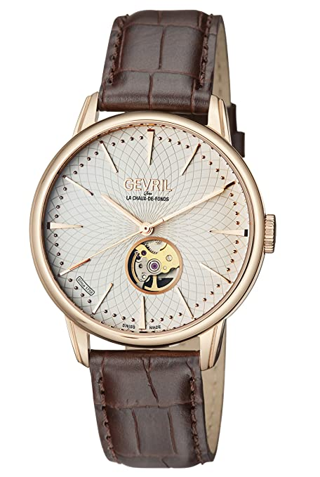 Gevril Men's Analog Swiss-Automatic Watch with Leather Calfskin Strap 9602