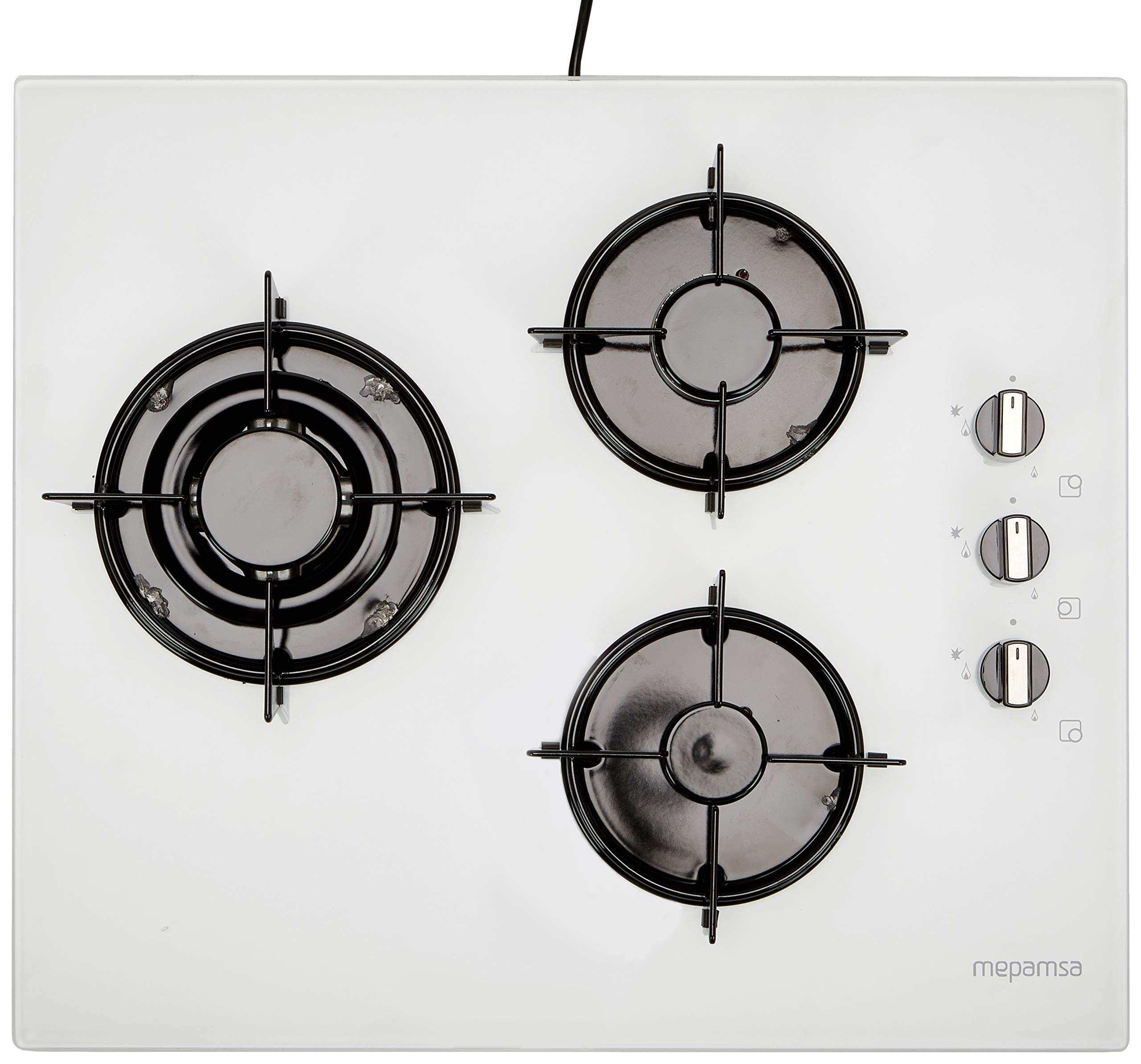 Mepamsa Glass Plate Gas MH 6032G TC WH E, White, 60