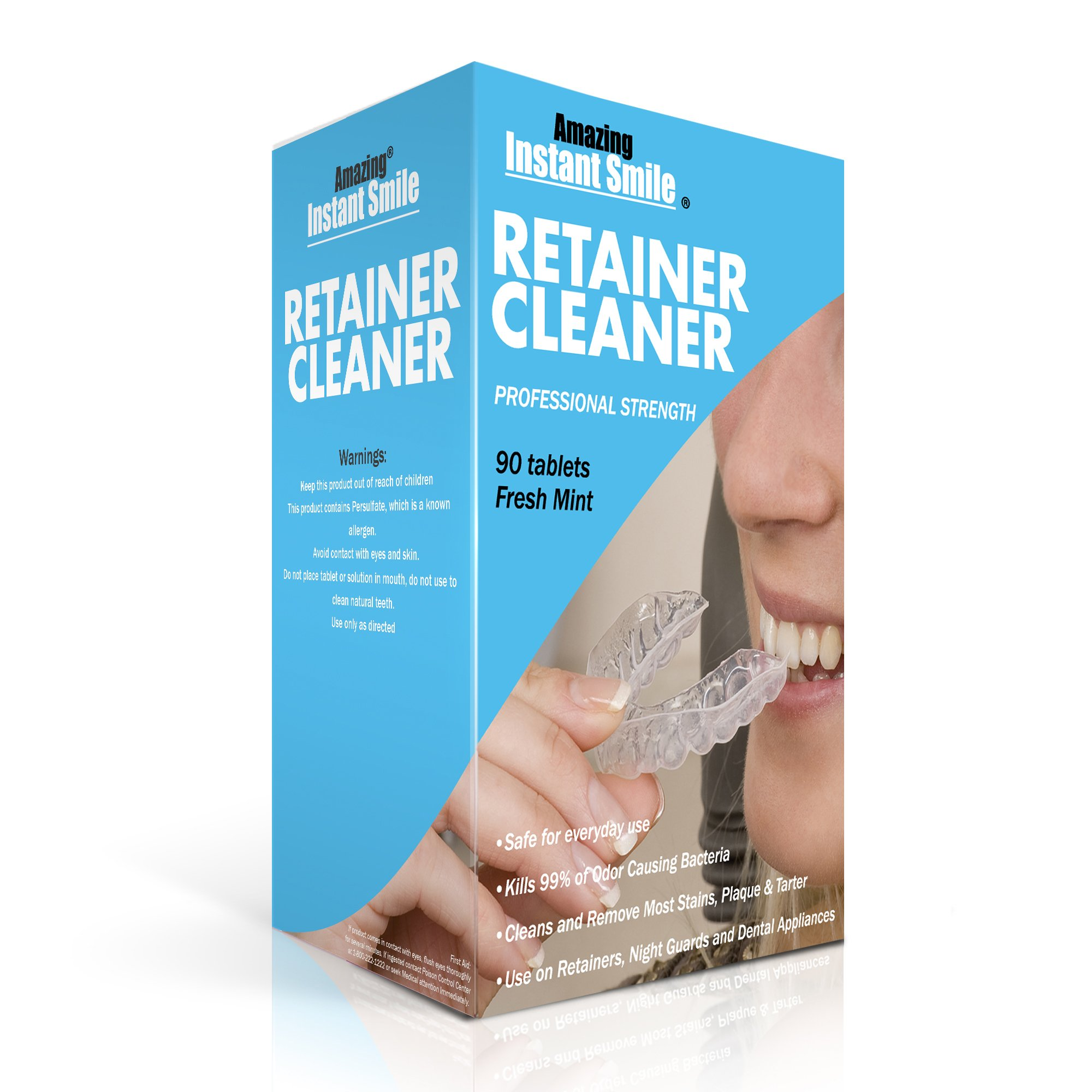 Amazing Instant Smile Professional Retainer Cleaner 90 Tablets (3 Month Supply) Cleaning Kit For Mouthguard, Night Guard, Dentures, Removable Dental Appliances Stain, Plaque And Tartar Remover