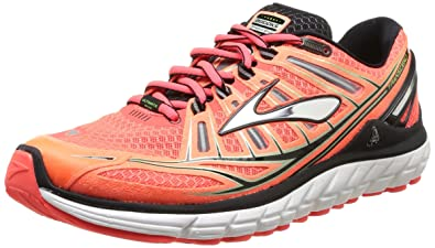 Brooks Mens Transcend Running Shoes, Color: FieryCoral/Silver/Black, Size: