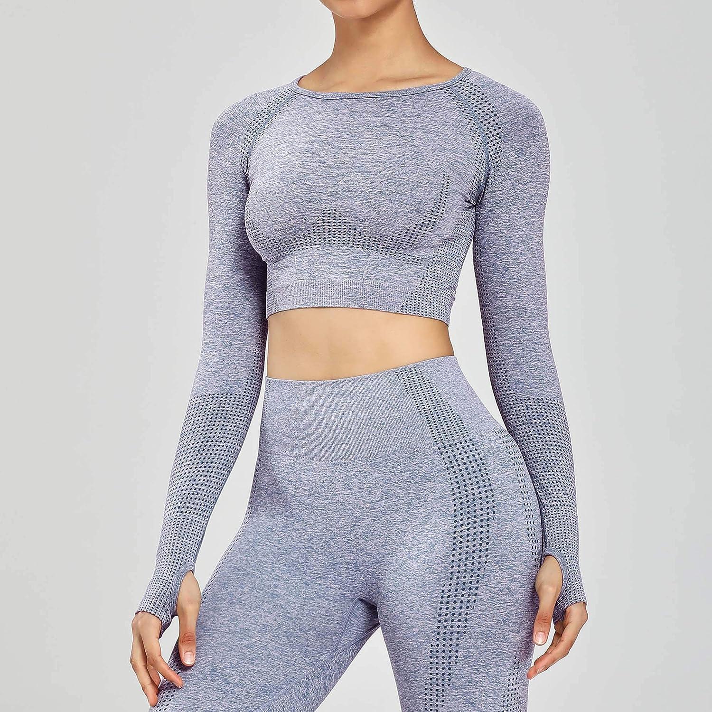 Aoxjox Womens Workout Vital Long Sleeve Seamless Crop Top Gym Sport Shirts