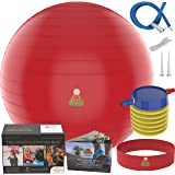 Exercise Ball Stability Fitness Balls | Best Professional Balance Anti-Burst Set – Yoga Large Thick Gym Ball With Pump & Accessories, Extra Pin For Valve, Elastic Loop & Hard Cover Workout Guide