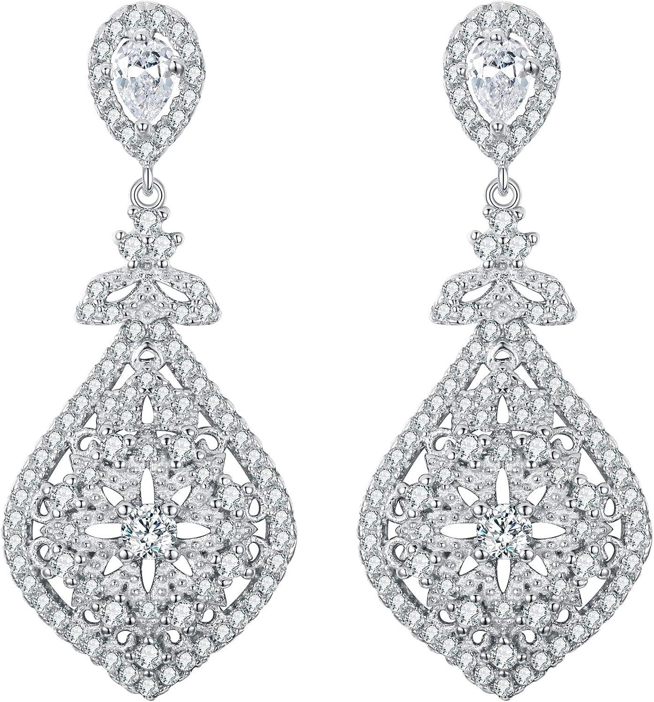 EVER FAITH® - 925 Plata Esterlina Cubic Zirconia Elegante Chandelier Gotas de Lágrimas Pendientes Claro N07808-1