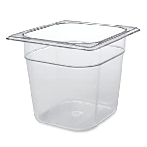 Rubbermaid Commercial Products Cold Food Insert Pan for Restaurants/Kitchens/Cafeterias, 1/6 Size, 6 Inches Deep, Clear (FG106P00CLR)