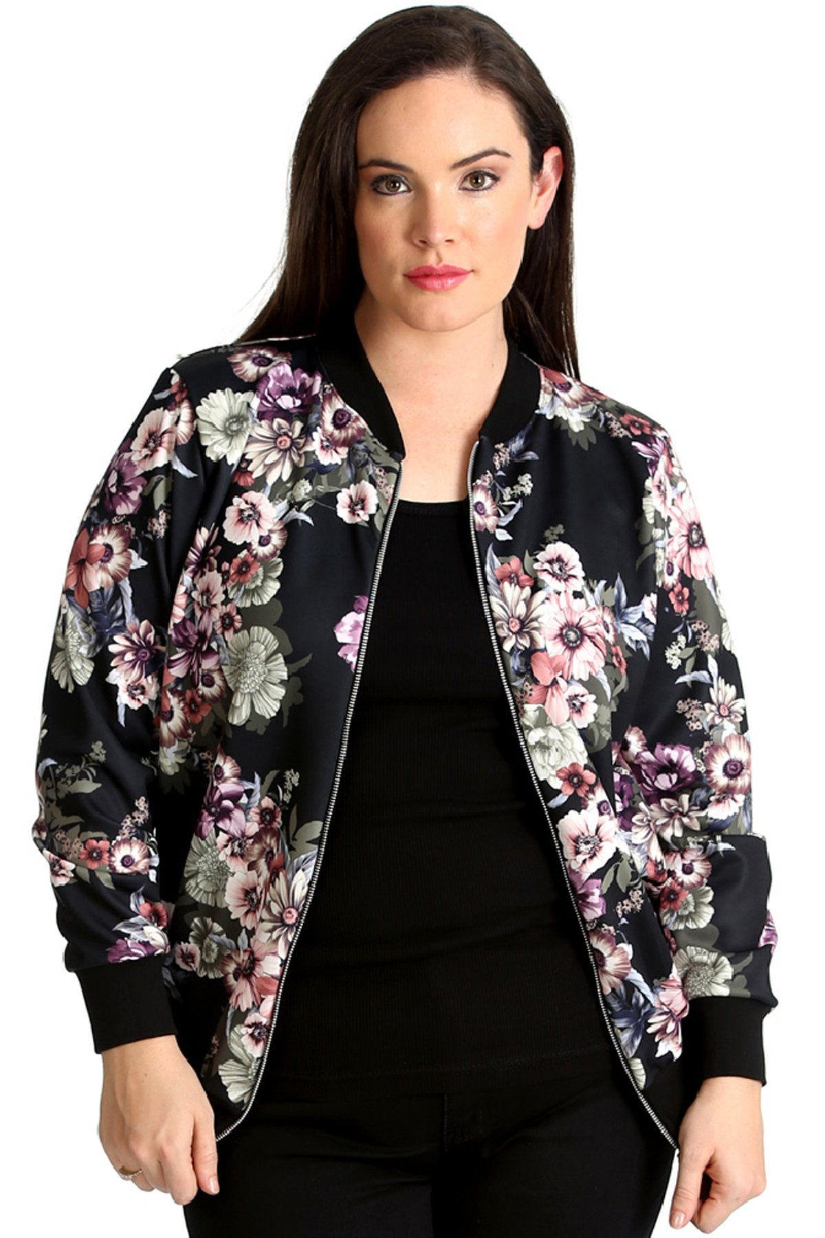 Nouvelle Collection. Womens Plus Size Bomber Jacket Ladies Floral Print Varsity Style Ribbed Long Sleeve Coat Black US Size 22-24