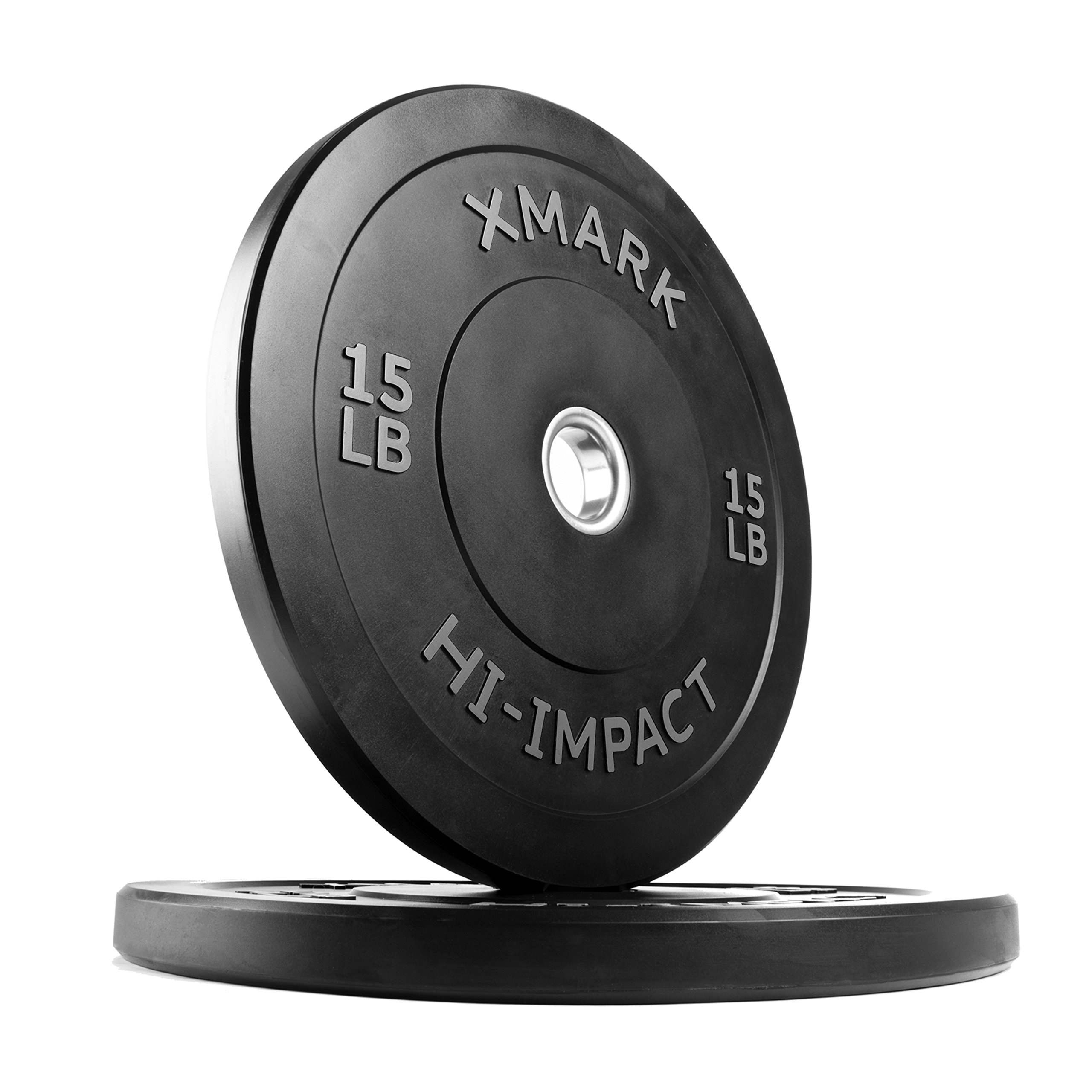 XMark 15 lb Pair Hi-Impact Bumper Plates, Three-Year Warranty, Hi-Impact Dead Bounce Commercial Olympic Bumper Weight Plates, XM-3393