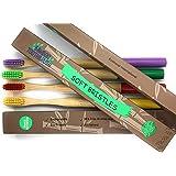 Cepillo de dientes de Bambú 100% Eco Friendly, Biodegradable, Cerdas Médium, Pack de 4 en colores variados