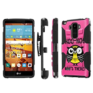 LG [G Stylo] Armor Case [SlickCandy] [Black/Black] Heavy Duty Defender [Holster] [Kick Stand] - [Hoo is There Owl] for LG [G Stylo] [LS770 H631]