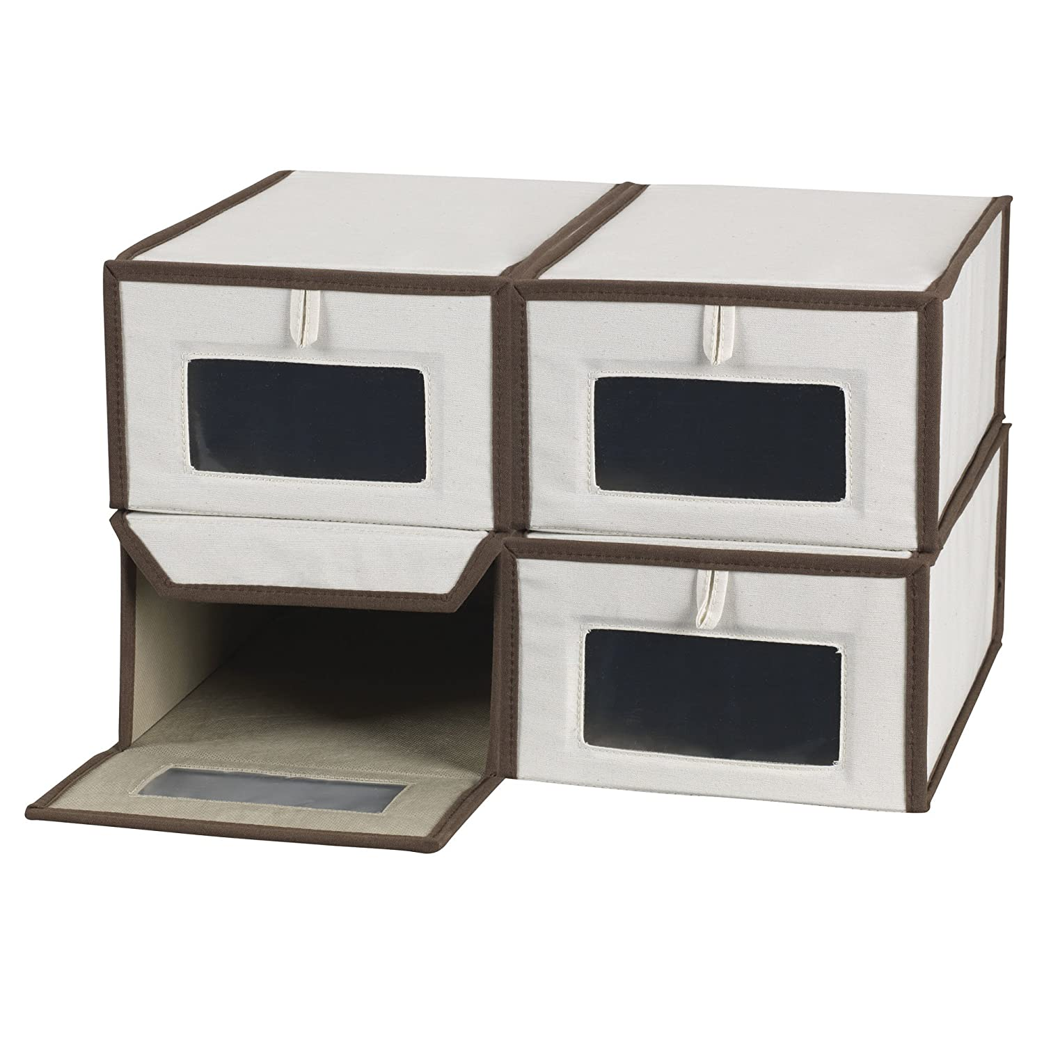 Household Essentials Set of Four Small Shoe Storage Boxes, Natural Canvas with Brown Trim Hosuehold Essentials 5200-4