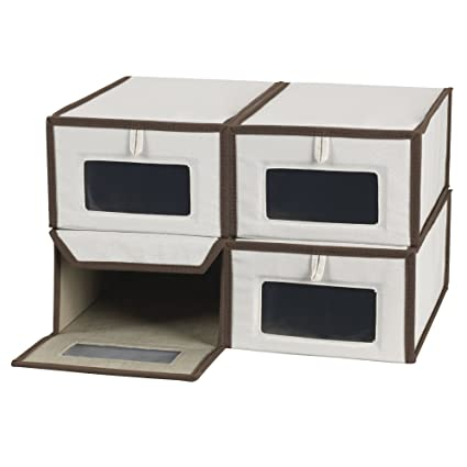 Attractive Household Essentials Set Of Four Small Shoe Storage Boxes, Natural Canvas  With Brown Trim