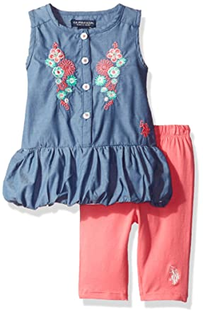 def251885 U.S. Polo Assn. Baby Girls' 2 Piece Chambray Top and Capri Legging Set,