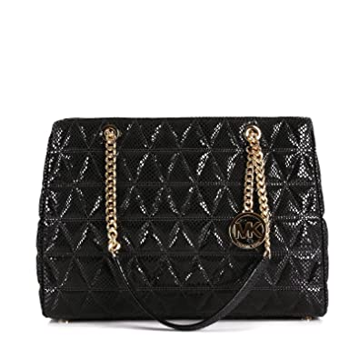 7919380cd4ae ... Michael Kors Susannah Black Quilted Embossed Leather Large Tote - Black