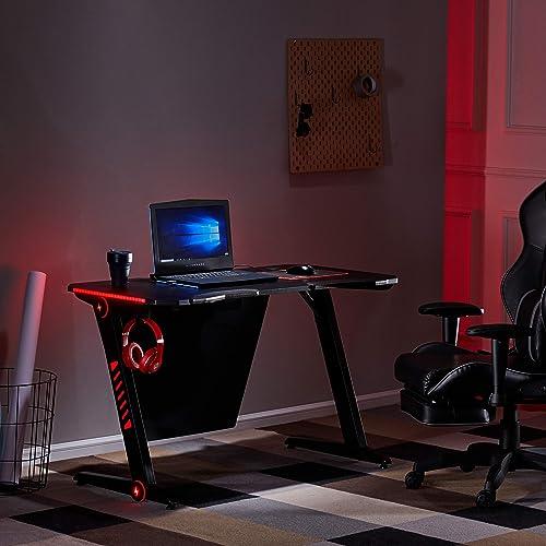 Gaming Desk LED Lights Z-Shaped Ergonomic Computer Desk Comfortable