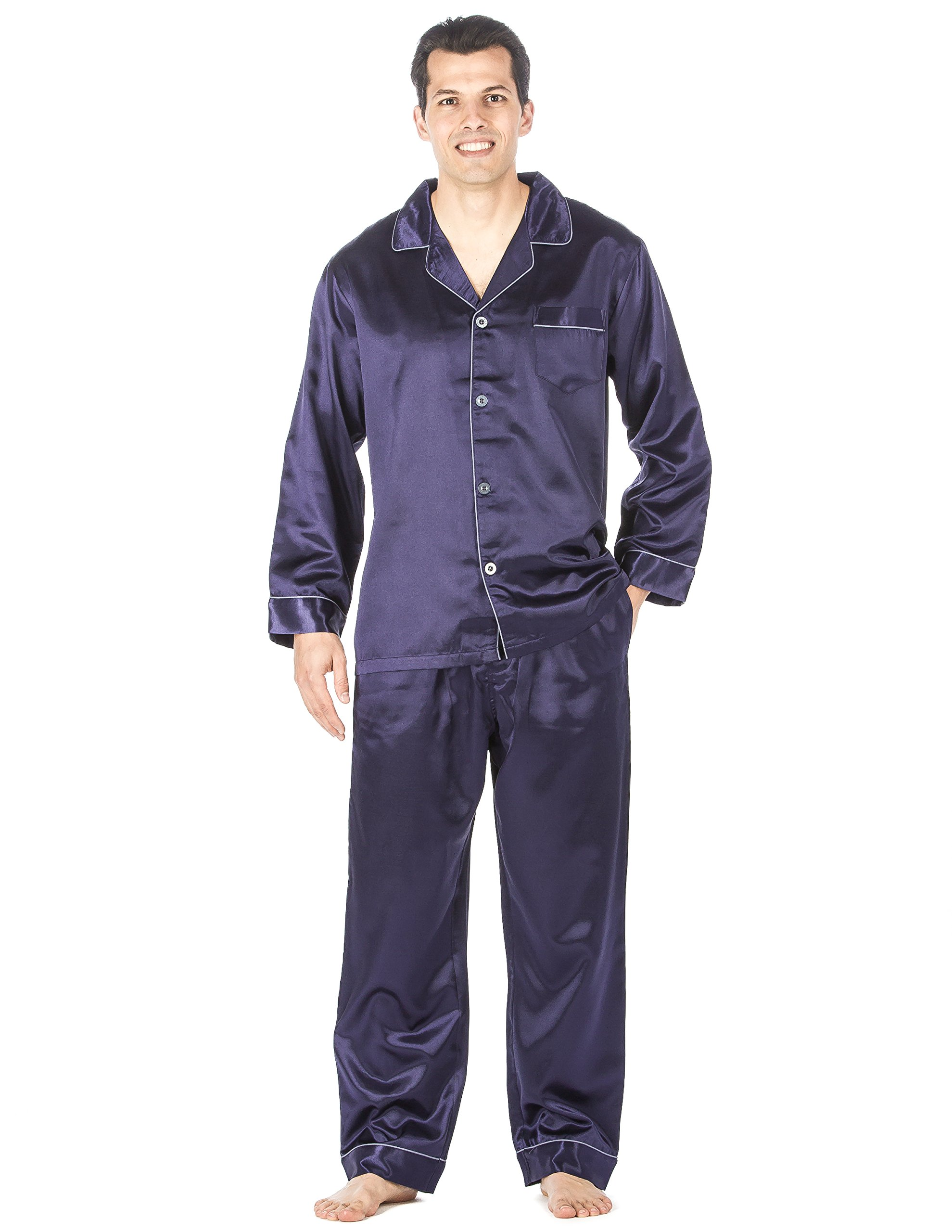 Noble Mount Mens Premium Satin Pajama Sleepwear Set - Dark Blue - Large