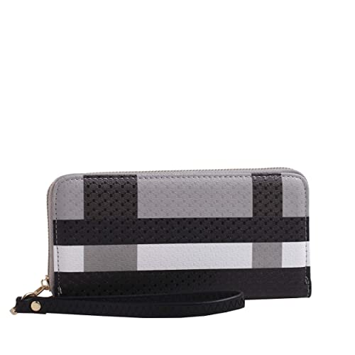 Plaid Travel Zip Around Zipper Wristlet Wallet Long Clutch Purse Wrist Strap | Black/Black: Handbags: Amazon.com