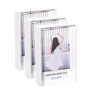 Phattopa Instax Mini Acrylic Picture Frames 2x3, Cute Polaroid Picture Frame, Desktop & Tabletop Picture Frames Set, Mini Instant Photo Frames for Fujifilm & Polaroid Film (3 Pack)