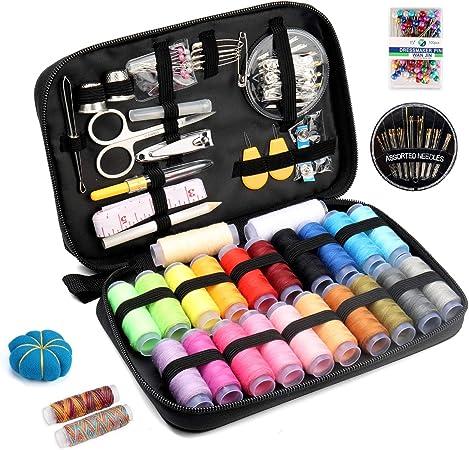 Qisiewell Kit De Costura Portátil Costurero 22 Vivid Rainbow-Colored Carrete De Hilos 108 Accesorios De Costura Premium para Uso Doméstico Adultos Niños: Amazon.es: Hogar