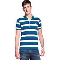 Lacoste Short Sleeve Bold Stripe Pique Polo PH1409-51 Green Small